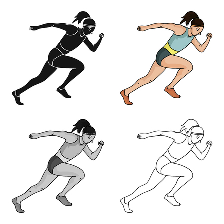 The girl is engaged in athletics.The Olympics in athletics.Olympic sports single icon in cartoon style vector symbol stock illustration. Illustration