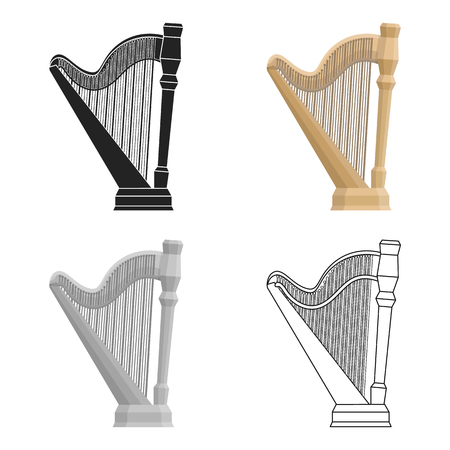 Harp icon in cartoon style isolated on white background. Musical instruments symbol stock vector illustration