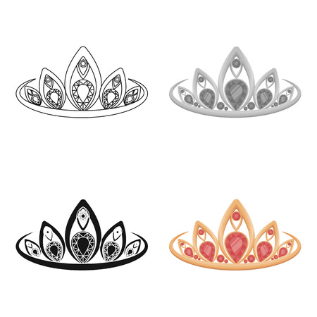 ruby: Diadem icon in cartoon style isolated on white background. Jewelry and accessories symbol stock vector illustration.