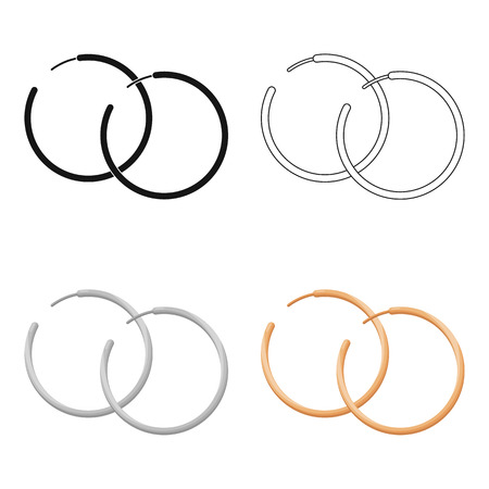 Hoop earrings icon in cartoon style isolated on white background. Jewelry and accessories symbol stock vector illustration. Иллюстрация