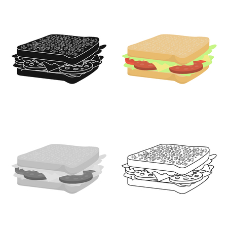 Sandwich vector icon in cartoon style for web