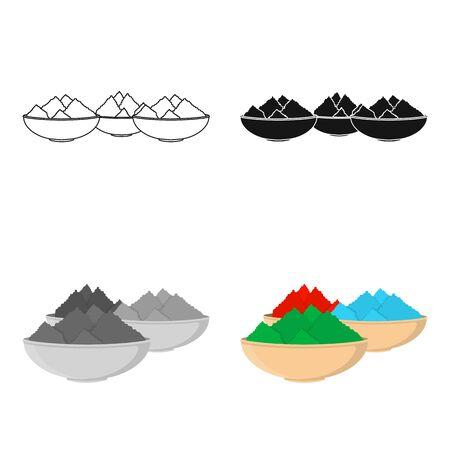 Icono de polvo colorido en estilo de dibujos animados aislado sobre fondo blanco. Símbolo de la India stock ilustración vectorial.