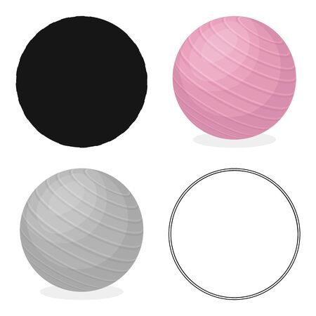 Pink rubber bouncy ball for exercises . Fitball for fitness.Gym And Workout single icon in cartoon style vector symbol stock illustration.