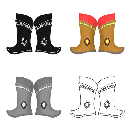 mongols: Military boots of the Mongols.part of the national dress of Mongolia.Mongolia single icon in cartoon style vector symbol stock illustration. Illustration
