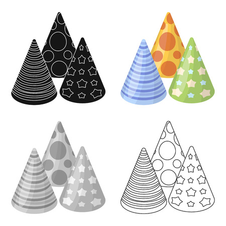 happybirthday: Caps in the form of cones for party.Party and parties single icon in cartoon style vector symbol stock illustration.