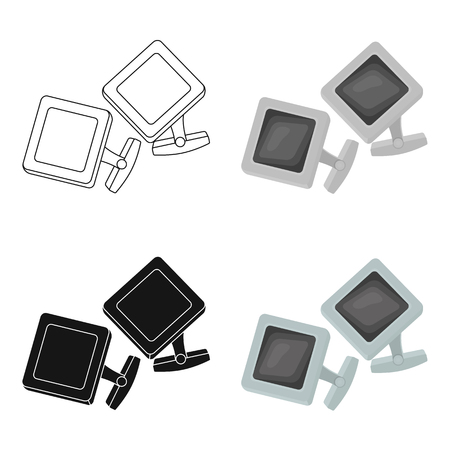 cufflink: Cufflinks icon in cartoon style isolated on white background. Jewelry and accessories symbol stock vector illustration. Illustration