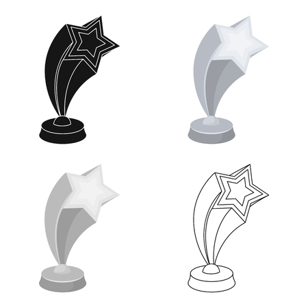 secondary: Cup in the shape of silver stars flying upward. Award for best performance of secondary roles.Movie awards single icon in cartoon style vector symbol stock illustration. Illustration