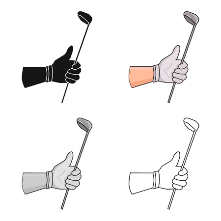 Holding of a golf club icon in cartoon style isolated on white background. Golf club symbol stock vector illustration.