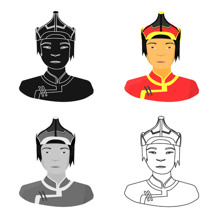mongols: The Mongols in the helmet.Mongolian national protection.Mongolia single icon in cartoon style vector symbol stock illustration.