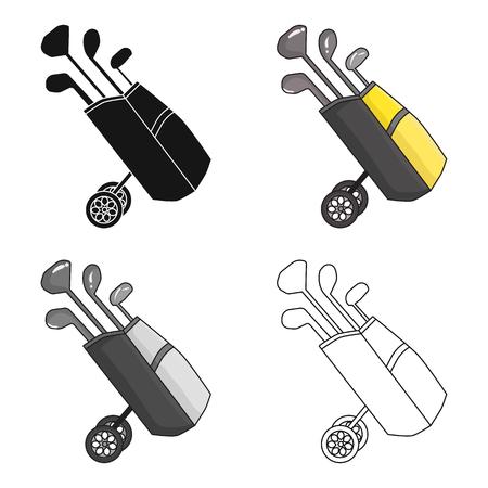 Sac de golf sur des roues avec des clubs icône dans le style de dessin animé isolé sur fond blanc. Golf Club symbole boursier illustration vectorielle.
