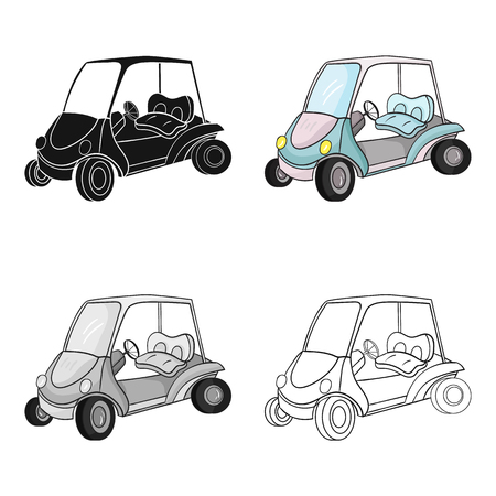 Golf cart icon in cartoon style isolated on white background. Golf club symbol vector illustration. Illustration