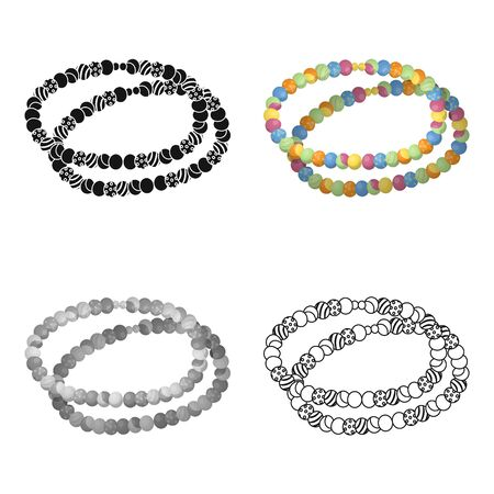 Colored beads.Hippy single icon in cartoon style vector symbol stock illustration . Illustration