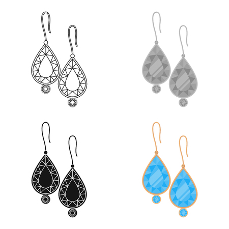 earrings: Earrings with gems icon in cartoon style isolated on white background. Jewelry and accessories symbol stock vector illustration.