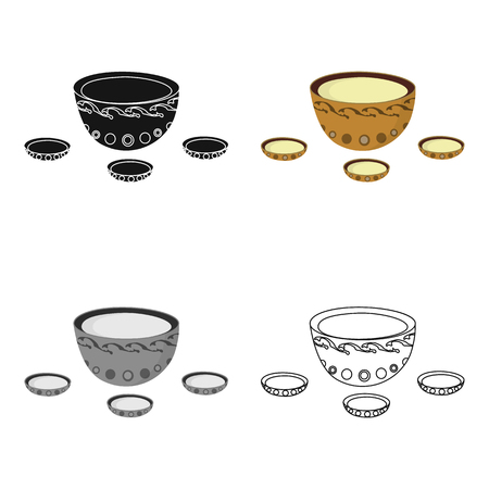 mongols: A plate with three cups and Mongolian ornaments.The national dish of the Mongols.Mongolia single icon in cartoon style vector symbol stock illustration. Illustration