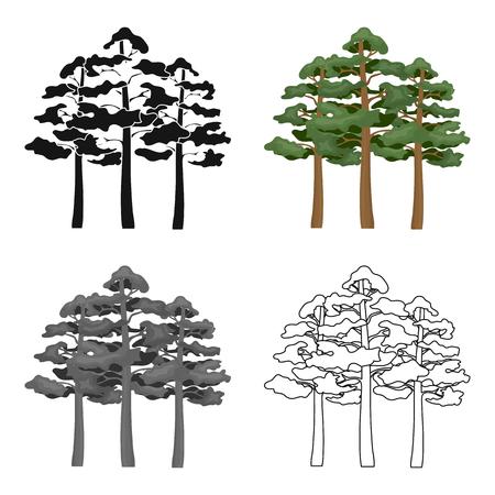 Pine vector pictogram in cartoon stijl voor web Stock Illustratie