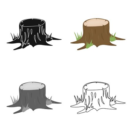 rings on a tree cut: Stump vector icon in cartoon style for web Illustration