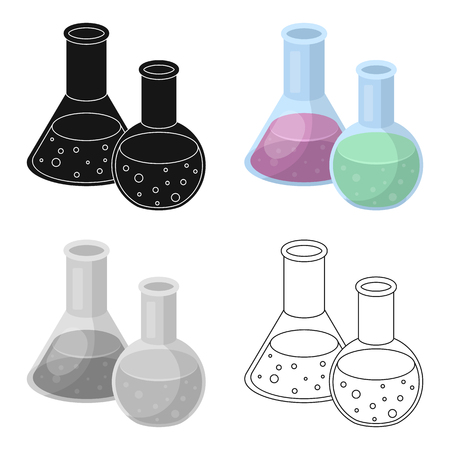 Flasks with reagents. Chemistry in school. Chemically, experiments.School And Education single icon in cartoon style vector symbol stock illustration.