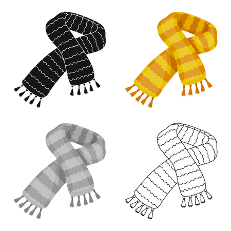 Yellow striped wool scarf.Scarves and shawls single icon in cartoon style vector symbol stock web illustration. Ilustração