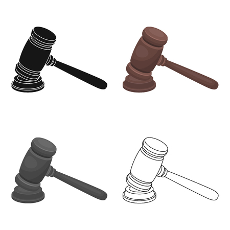 Judge wooden hammer. Hammer for deducing the verdict to the criminal.Prison single icon in cartoon style vector symbol stock web illustration. Illustration