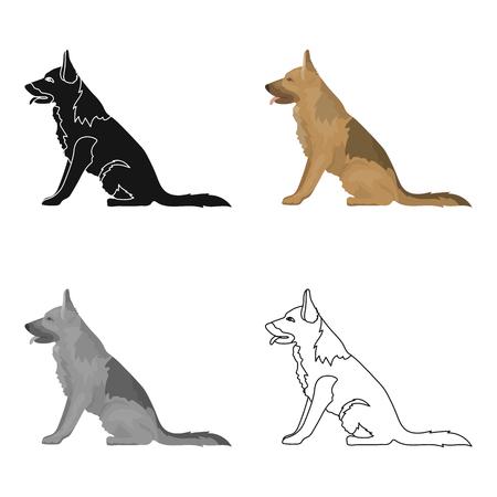 Police dog for detaining criminals. Trained shepherd for prison.Prison single icon in cartoon style vector symbol stock web illustration. Illustration