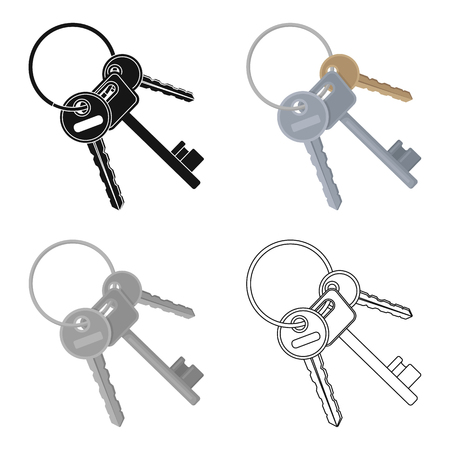 A bunch of keys from the cells in the prison. Keys for opening criminals.Prison single icon in cartoon style vector symbol stock web illustration. Illustration