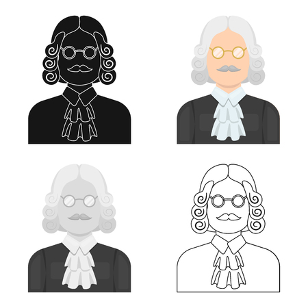 wig: A judge in a wig and glasses. A person who makes a verdict to a criminal.Prison single icon in cartoon style vector symbol stock web illustration.