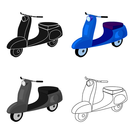 a two wheeled vehicle: Blue two wheeled scooter. Transport for moving around the city.Transport single icon in cartoon style vector symbol stock web illustration.