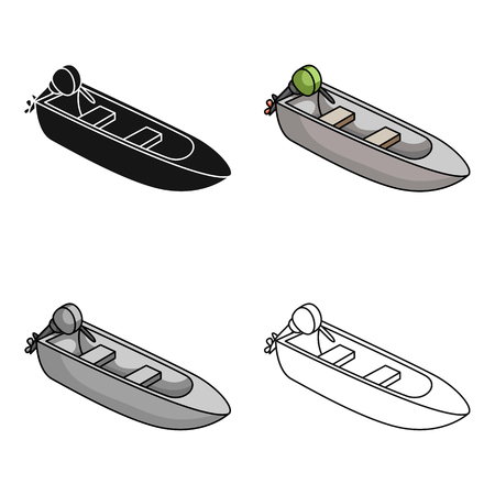 Small metal boat with motor for fishing.Boat for river or lake fishing.Ship and water transport single icon in cartoon style vector symbol stock web illustration. Illustration