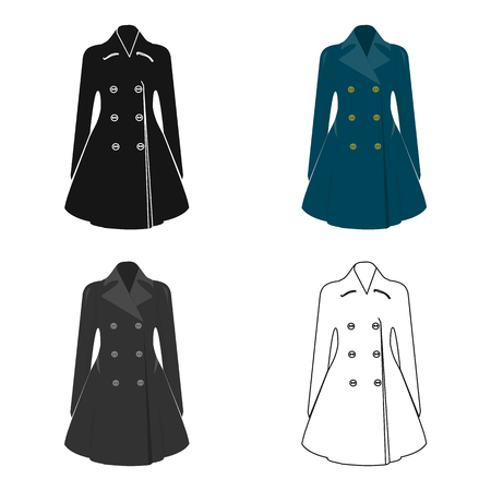 Blue female restrained coat buttoned. Womens outerwear.  Woman clothes single icon in cartoon style vector symbol stock web illustration. Illustration