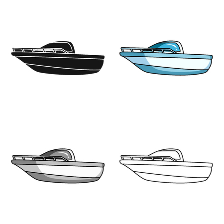 Blue metal boat.Police boat.A means of transportation on water.Ship and water transport single icon in cartoon style vector symbol stock web illustration.