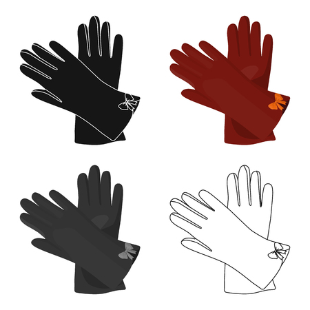 Warm burgundy gloves for hands. Female winter accessory.  Woman clothes single icon in cartoon style vector symbol stock web illustration.