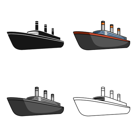 Huge cargo black liner.Ship for transportation of heavy thunderstorms on the sea and the ocean .Ship and water transport single icon in cartoon style vector symbol stock web illustration. Illustration