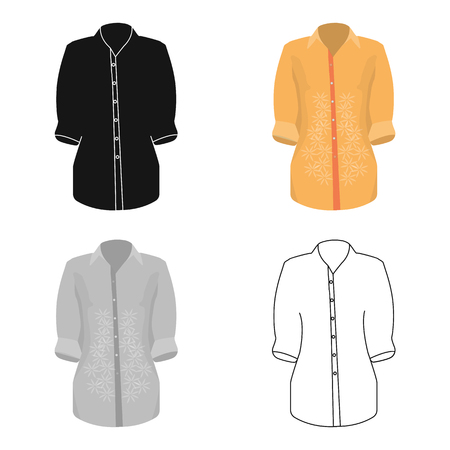 button down shirt: Stylish orange shirt for women. Women dressed in ceremonial clothes.  Woman clothes single icon in cartoon style vector symbol stock web illustration.