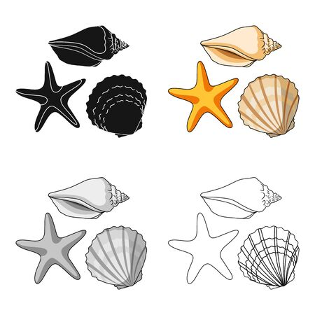 Seashells from the bottom of the sea.Summer rest single icon in cartoon style vector symbol stock web illustration. 矢量图片