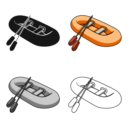 Orange rubber lifeboat.The boat, which weighs on the sides of large boats for the rescue.Ship and water transport single icon in cartoon style vector symbol stock web illustration.