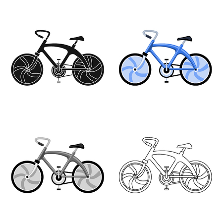 A sports bike for a quick ride down the road. Bicycle ecological economical transport.Transport single icon in cartoon style vector symbol stock web illustration. Çizim