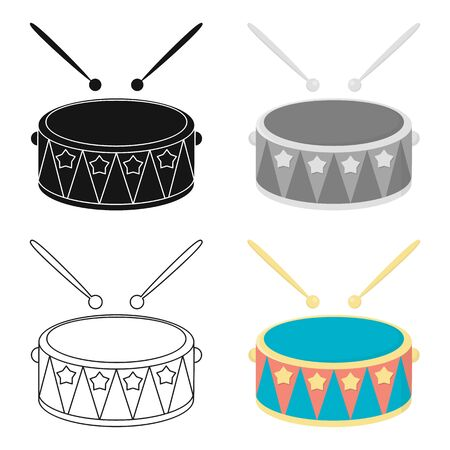 Drum cartoon icon. Illustration for web and mobile.