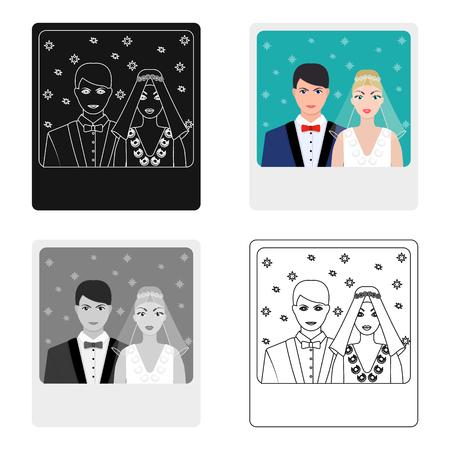 Ein Bild von der Braut und Bräutigam sieht auf der Wand.Wedding einzigen Symbol in Cartoon-Stil Vektor-Symbol stock Web-Illustration.