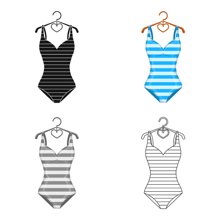 Bright striped swimsuit in the colors of the rainbow. Beach female form.Swimcuits single icon in cartoon style vector symbol stock web illustration. Ilustrace