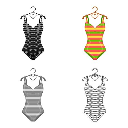 Bright striped swimsuit in the colors of the rainbow. Beach female form.Swimcuits single icon in cartoon style vector symbol stock web illustration. Illustration