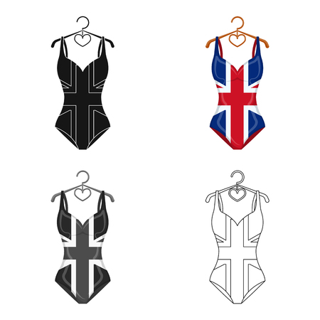 beach closed: Women swimsuit closed with the flag of America. Swimsuit for the patriots.Swimcuits single icon in cartoon style vector symbol stock web illustration.