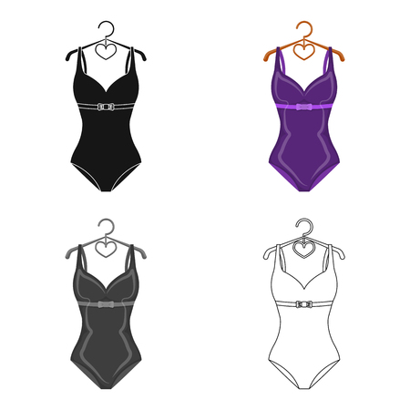 Bright purple swimsuit with bows for girls.Beach wear women.Swimcuits single icon in cartoon style vector symbol stock illustration.