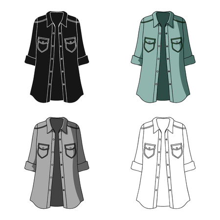 Green Womens jacket with buttons and short sleeves. Casual wear for the stylish woman.Women clothing single icon in cartoon style vector symbol stock illustration. Illustration