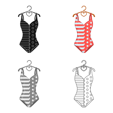 bathe: Pink swimsuit for the beach stripe and star.Swimming costume.Swimcuits single icon in cartoon style vector symbol stock illustration.