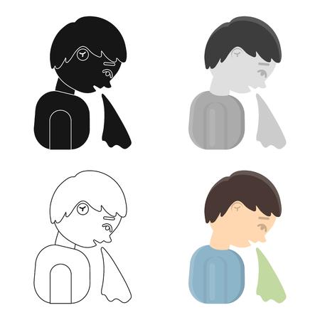 Vomiting icon cartoon. Single sick icon from the big ill, disease cartoon.