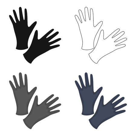 surgical glove: Black protective rubber gloves icon cartoon. Single tattoo icon from the big studio cartoon.