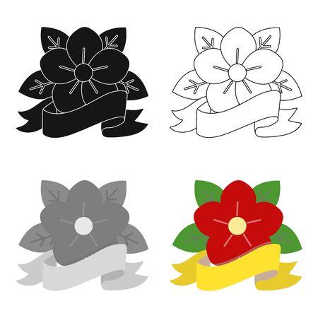 Flower tattoo emblem icon cartoon. Single tattoo icon from the big studio cartoon.