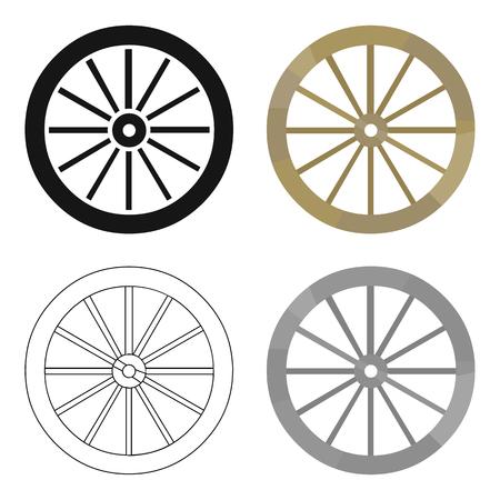 Cart-wheel icon cartoon. Singe westerse icoon uit het wilde westen cartoon. Stock Illustratie