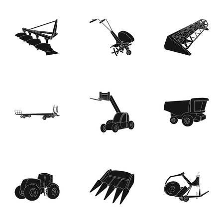 hayride: Set of pictures about agricultural machinery. Cars to robots to the ground.Agricultural Machinery icon in set collection on black style vector symbol stock illustration.