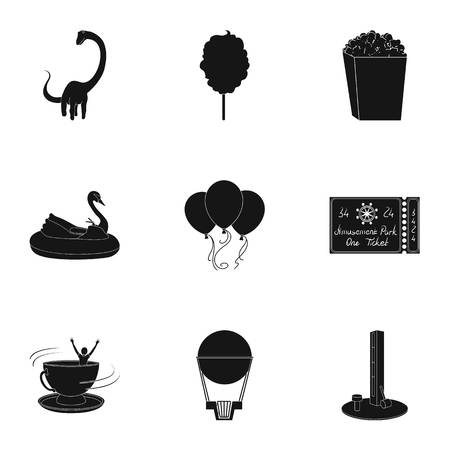 The amusement Park rides. The attributes of a recreational Park, panic room, cotton candy.Amusement Park icon in set collection on black style vector symbol stock illustration.